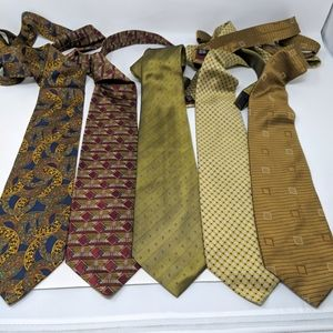 Vtg Lot of 5 Fine Silk Ties Equestrian Firenze